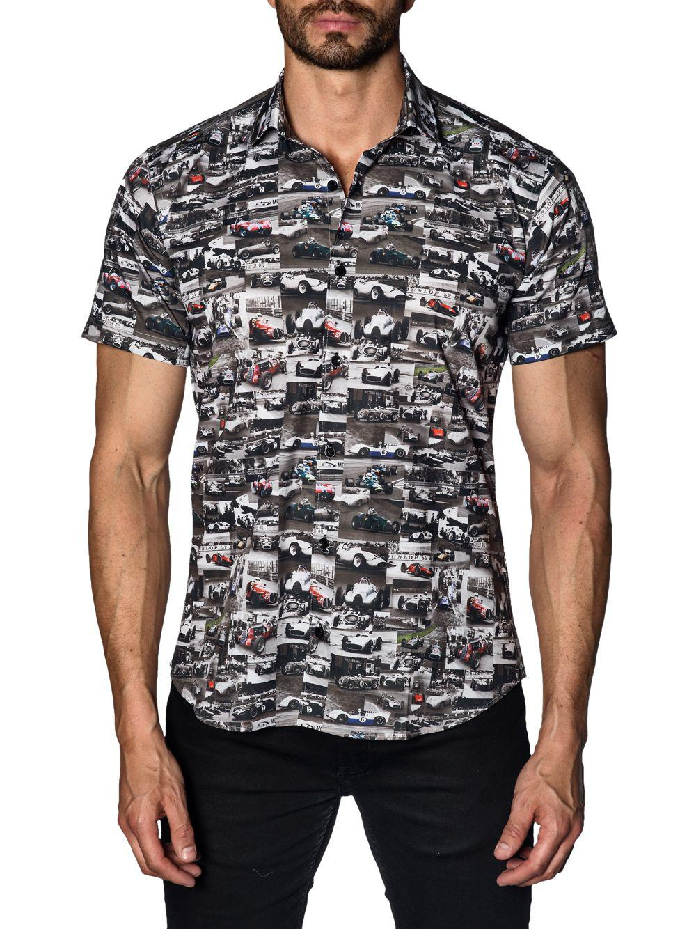 Jared Lang Car Cotton Button Down Shirt In Black For Men