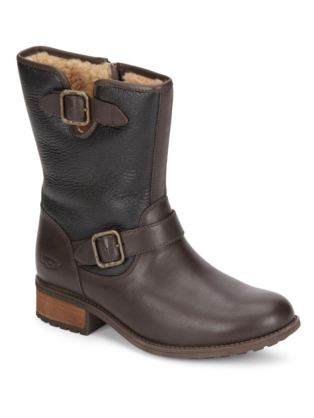 7fd0f1bbc34 Lyst - UGG Chaney Shearling-lined Leather Boots in Brown