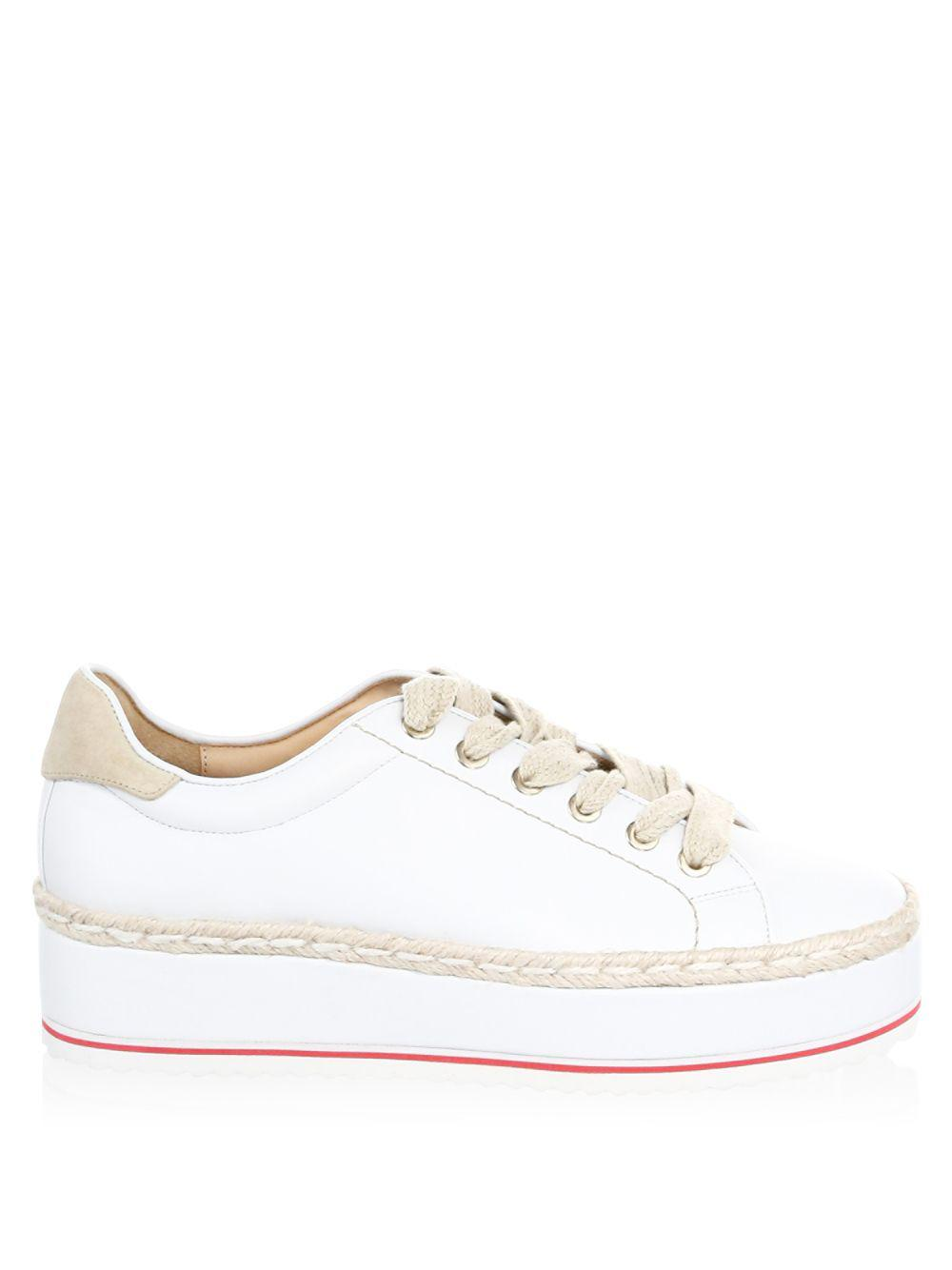 Joie Leather Dabnis Espadrille Platform Sneakers in White