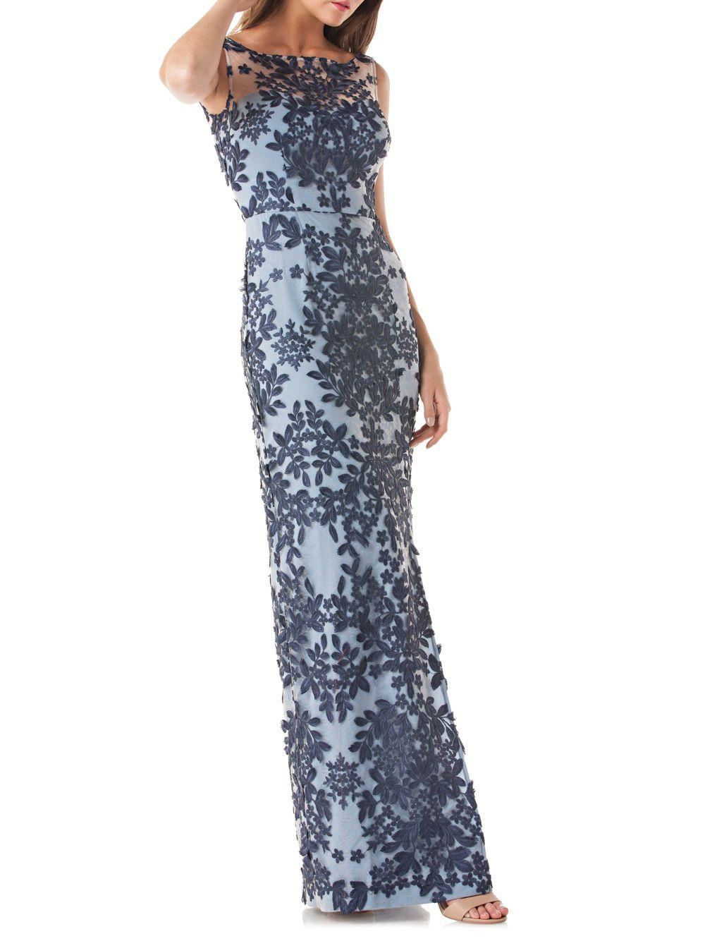 6705599d58 JS Collections 3d Embroidered Lace Gown in Blue - Save 70% - Lyst