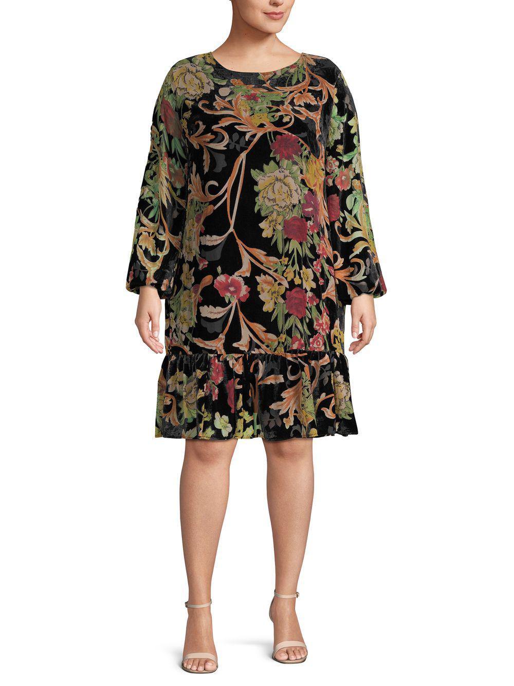 eb426663a3e37f ABS By Allen Schwartz Plus Bohemian Floral Shift Dress in Black - Lyst