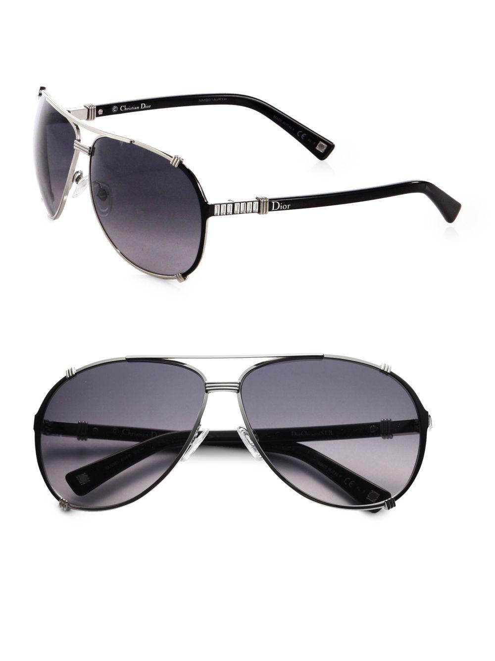 e46b3bf5f81 Lyst - Dior Chicago 63mm Metal Aviator Sunglasses in Black