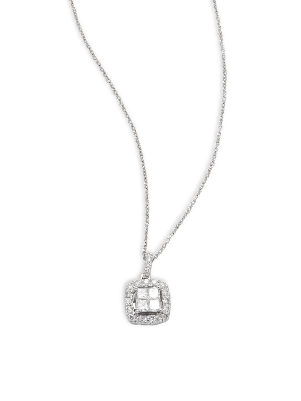 14k White Gold Square Pendant Necklace