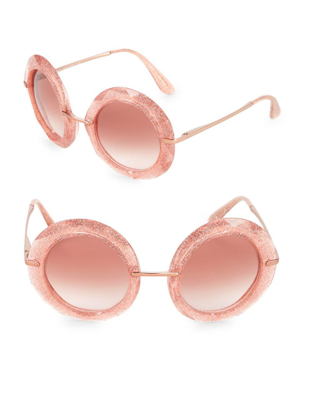 7604347a838 Lyst - Dolce   Gabbana 50mm Glittered Round Sunglasses in Pink