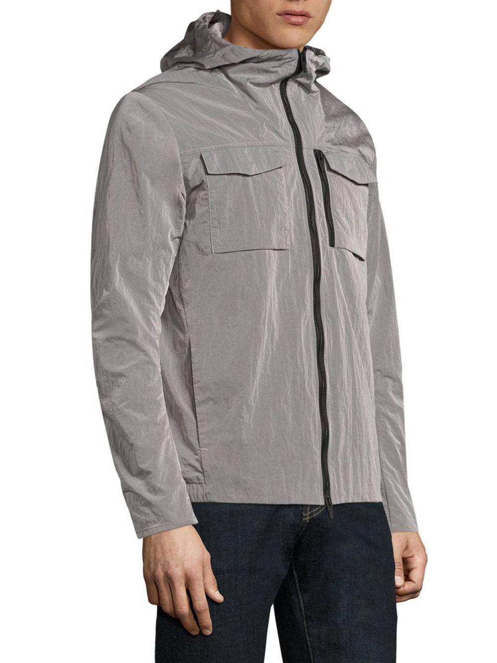 J.Lindeberg Synthetic Jonah Crinkle Hooded Jacket in Light Grey (Grey) for Men