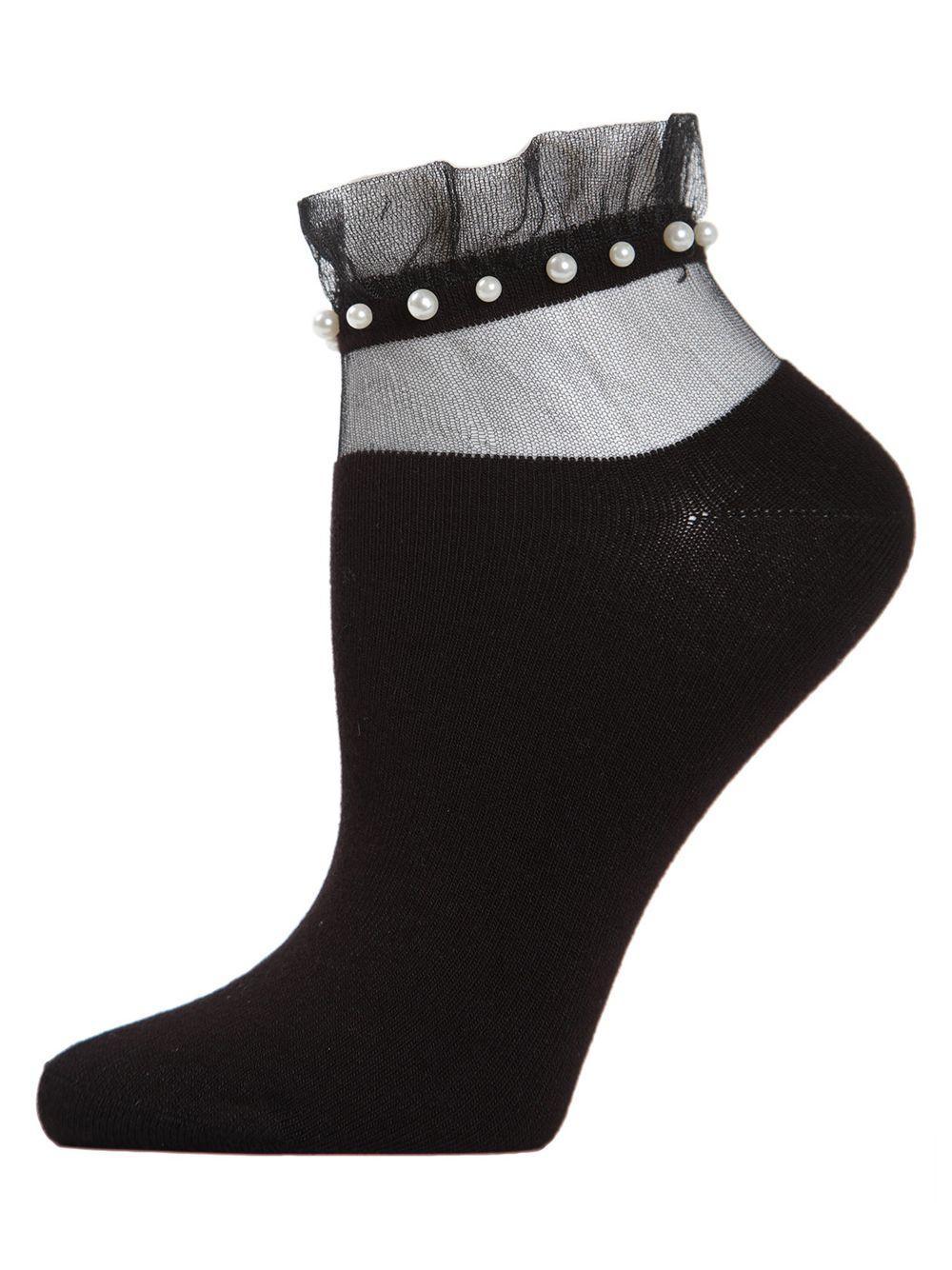 6d3bfd0879d Lyst - Memoi Sheer Ruffle-cuff Faux Pearl Anklet Socks in Black