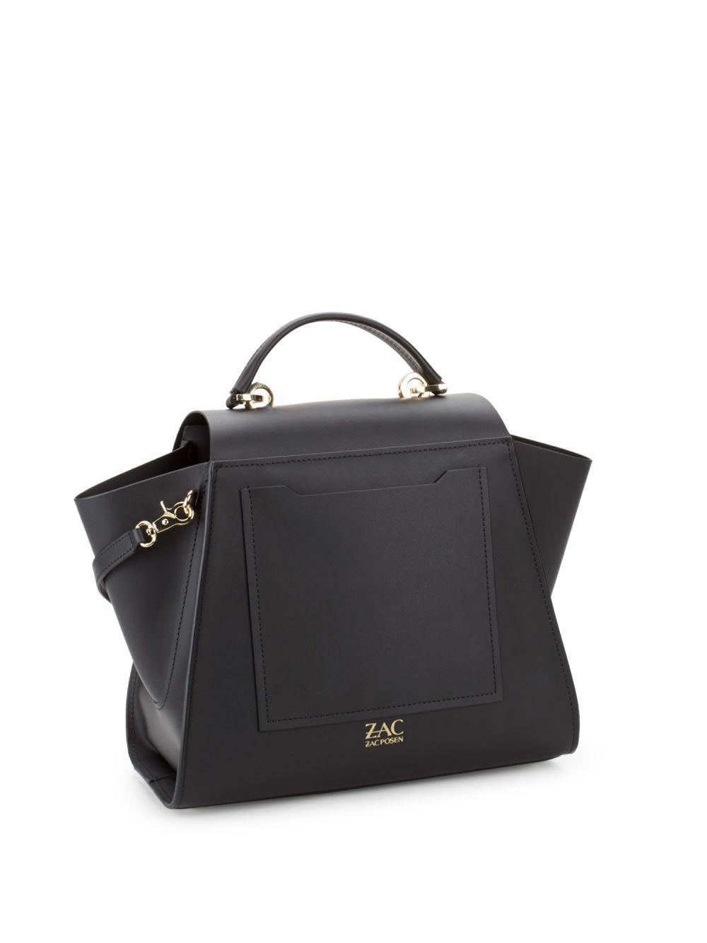 Zac Zac Posen Eartha Flap Leather Top Handle Bag In Black