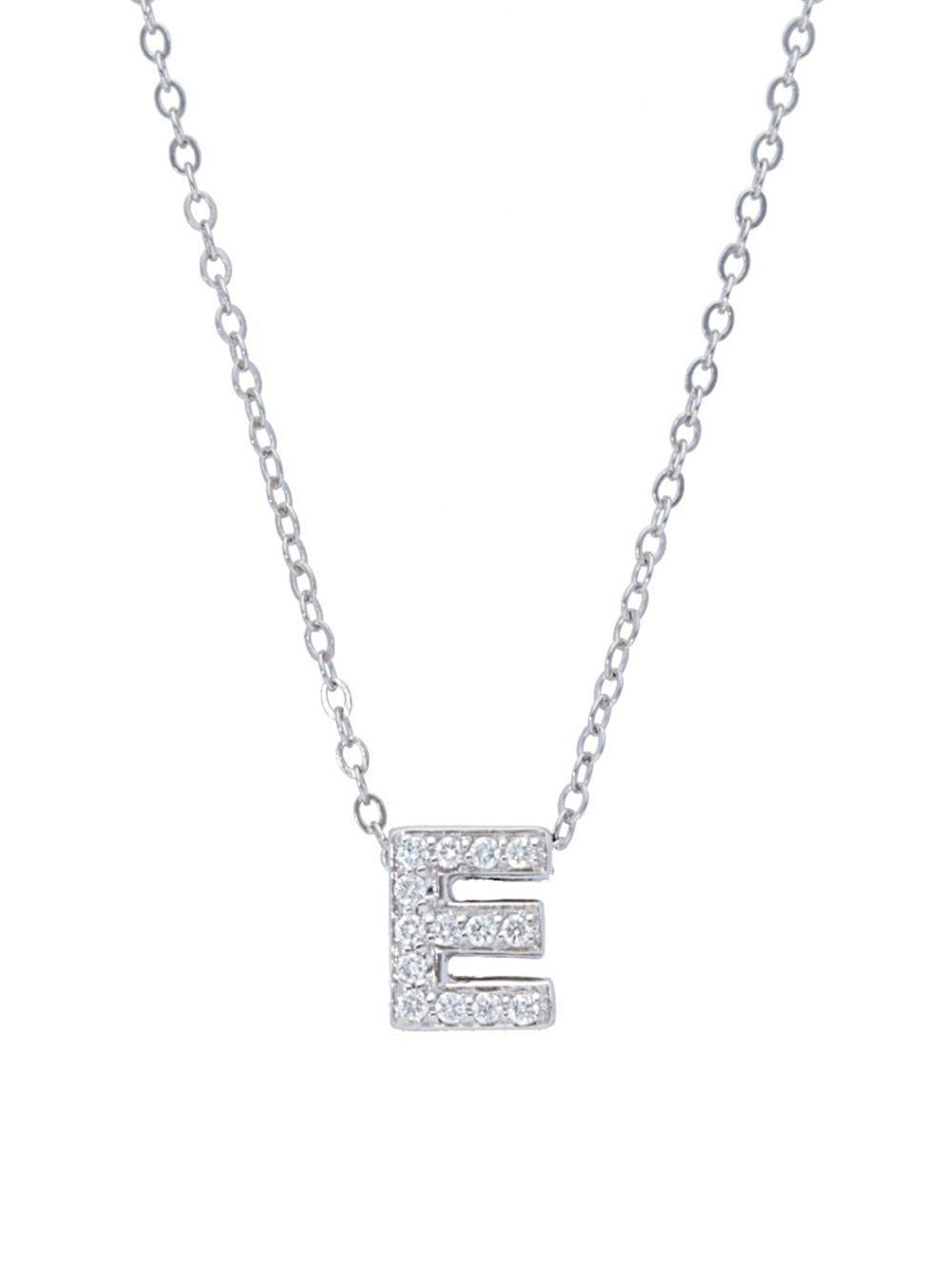 Lyst nephora diamond 14k white gold e initial pendant necklace nephora womens metallic diamond 14k white gold e initial pendant necklace aloadofball Gallery