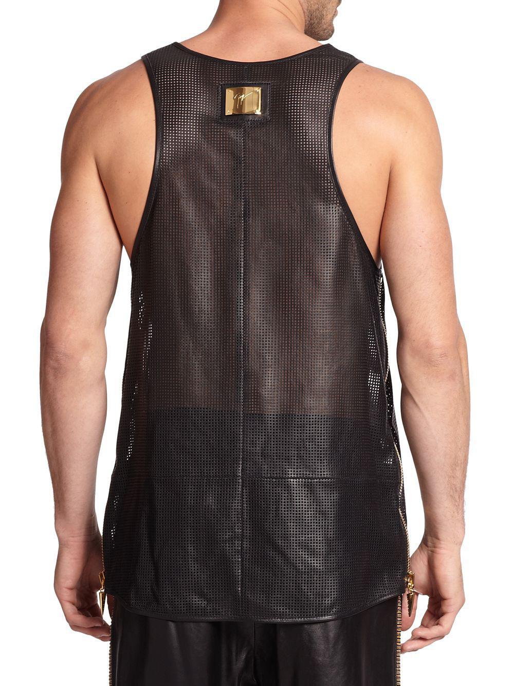 1d32e1ac61094 Giuseppe Zanotti - Black Zippered Leather Tank Top for Men - Lyst. View  fullscreen