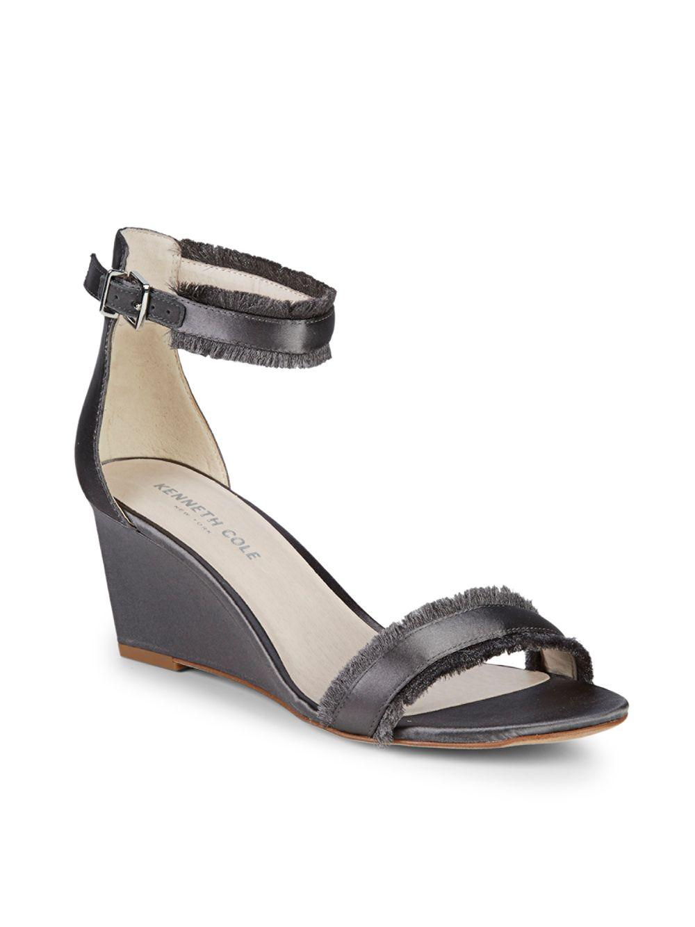 5d60a939a1 Kenneth Cole Davis Denim Wedge Sandals in Gray - Save 50% - Lyst