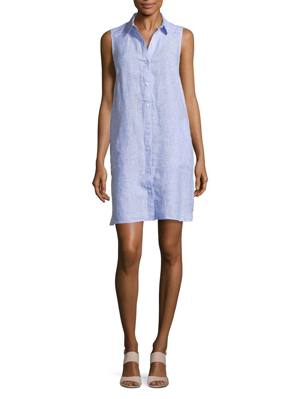 8ff0601019 Lyst - Saks Fifth Avenue Sleeveless Linen Shirt Dress in Blue