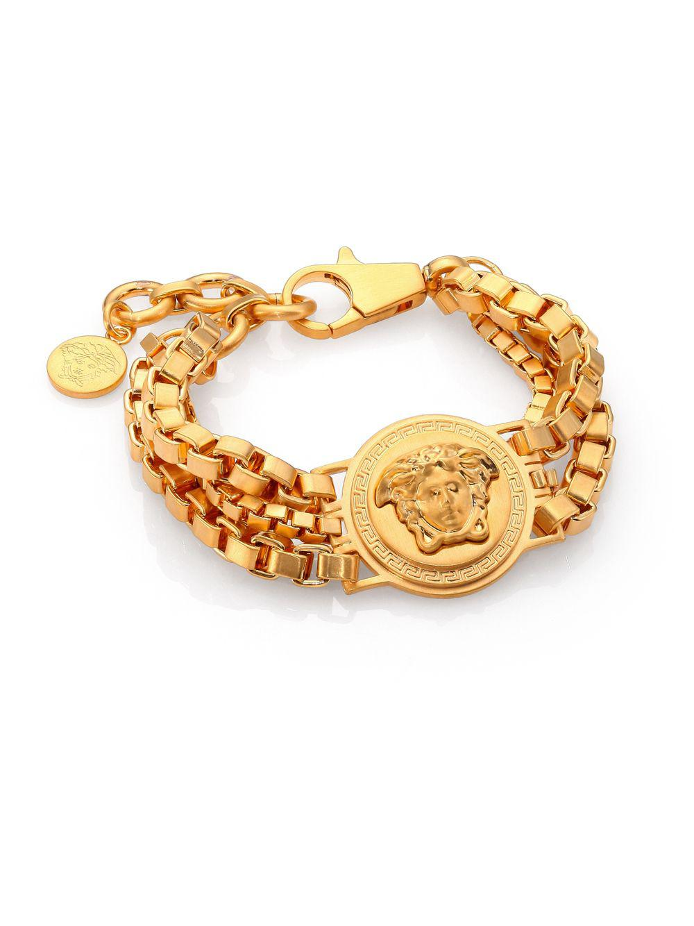 728e43e2b5be Lyst - Versace Bijoux Triple Chain Medusa Bracelet in Metallic