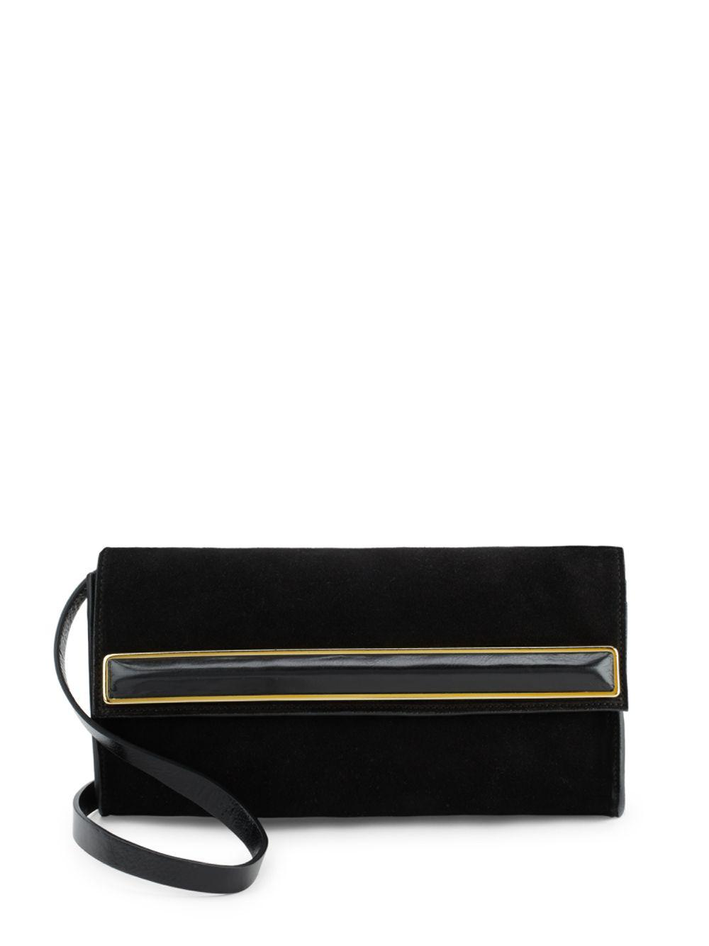 4b532f38855e Lyst - Halston Heritage Small Suede Clutch in Black