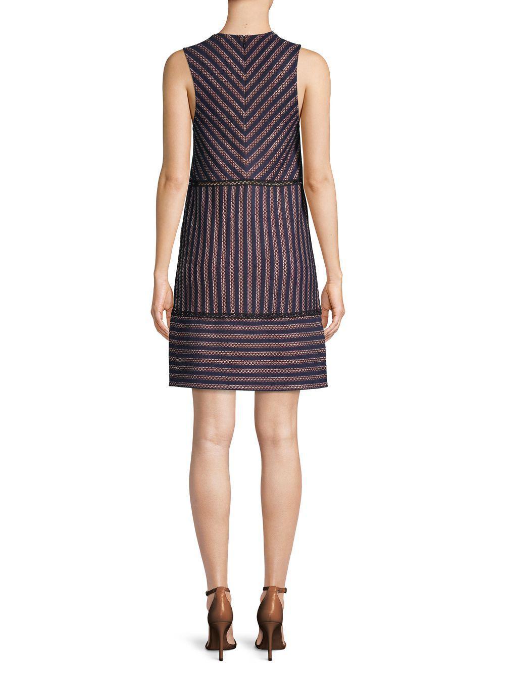 faba4ac88a BCBGMAXAZRIA - Blue Striped Lace Shift Dress - Lyst. View fullscreen