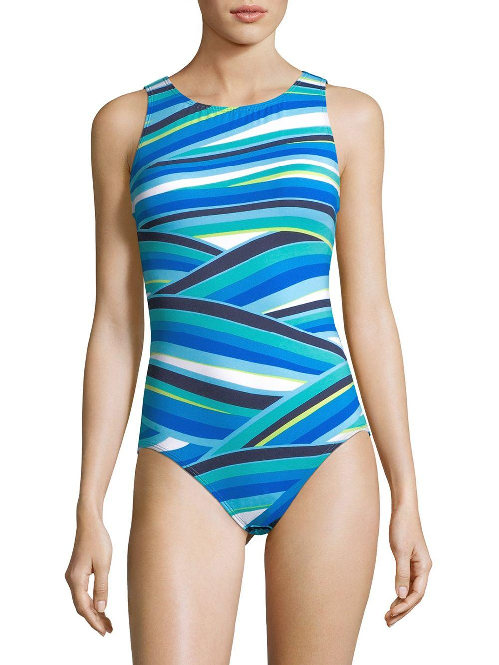 ce5af8c141 Lyst - Tommy Bahama Striped One-piece Swimsuit in Blue - Save 8%