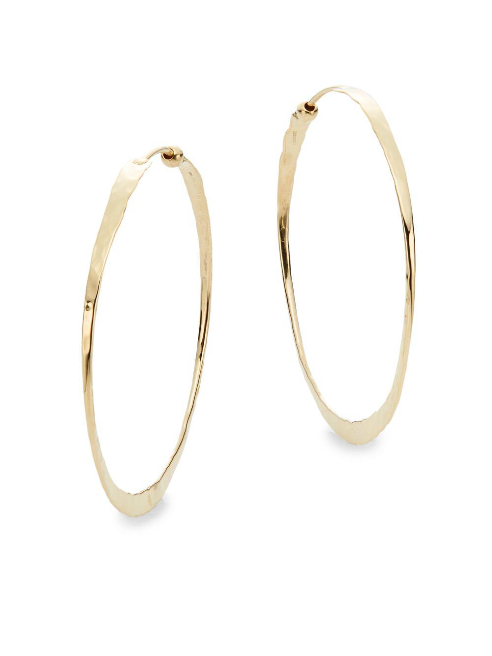 Saks Fifth Avenue Women S Metallic 14k Yellow Gold Hammered Hoop Earrings