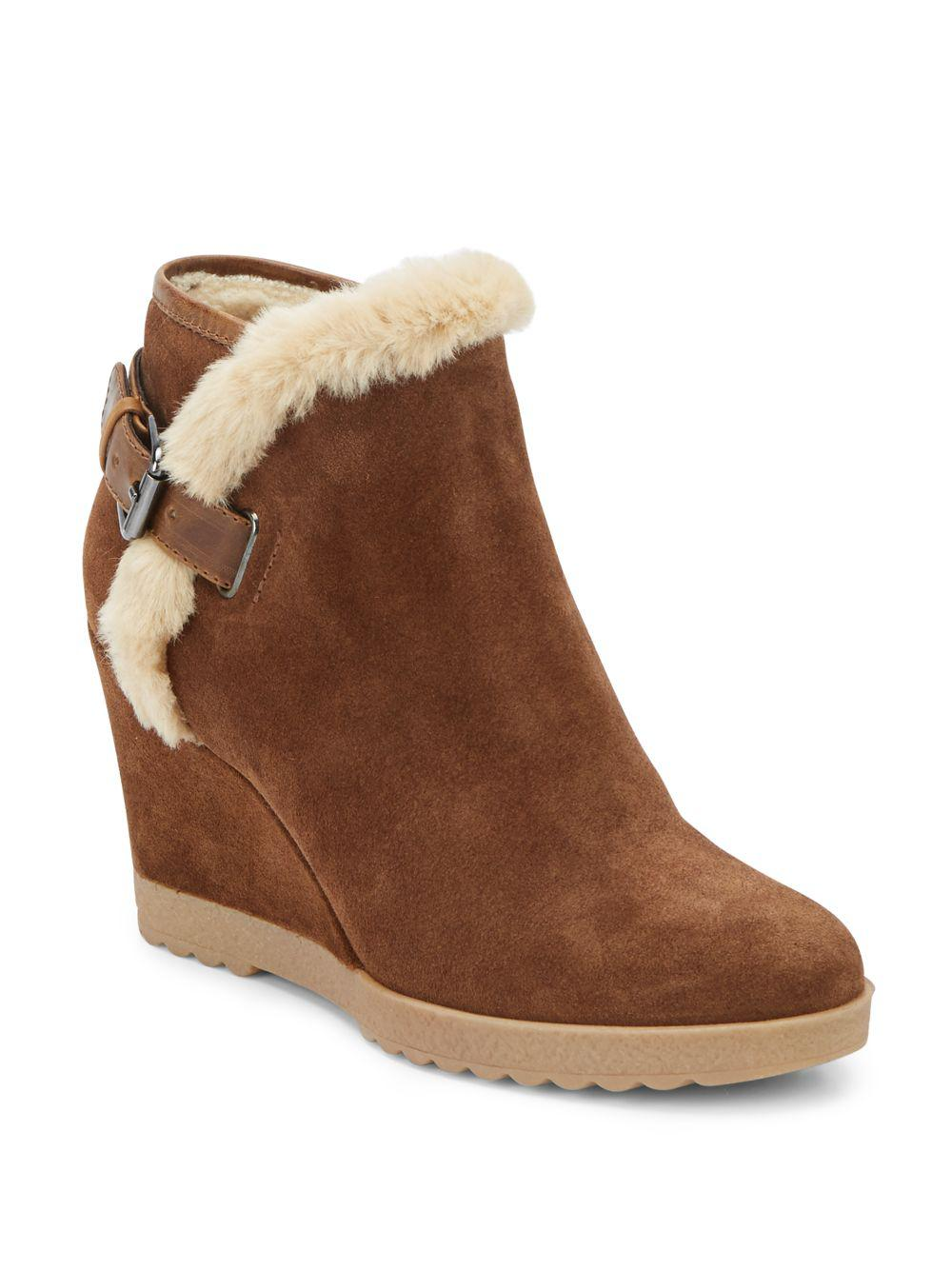 bd99d6483 Lyst - Aquatalia Crista Faux Fur-lined Suede Wedge Booties