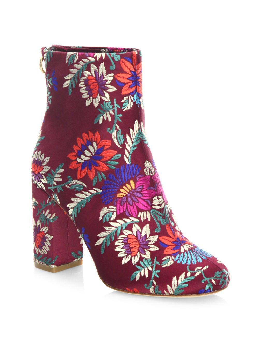 52322ea6b207 Lyst - Joie Saleema Brocade Leather Ankle Boots in Red - Save 7%