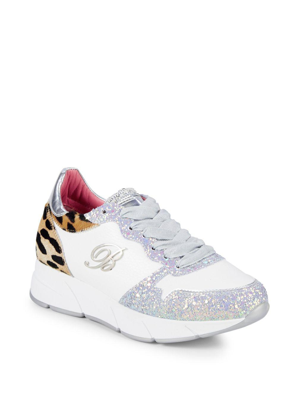 Sneakers Calf Dyed White Leopard Blumarine Leather In Glitter amp; Hair RU0wvnqT