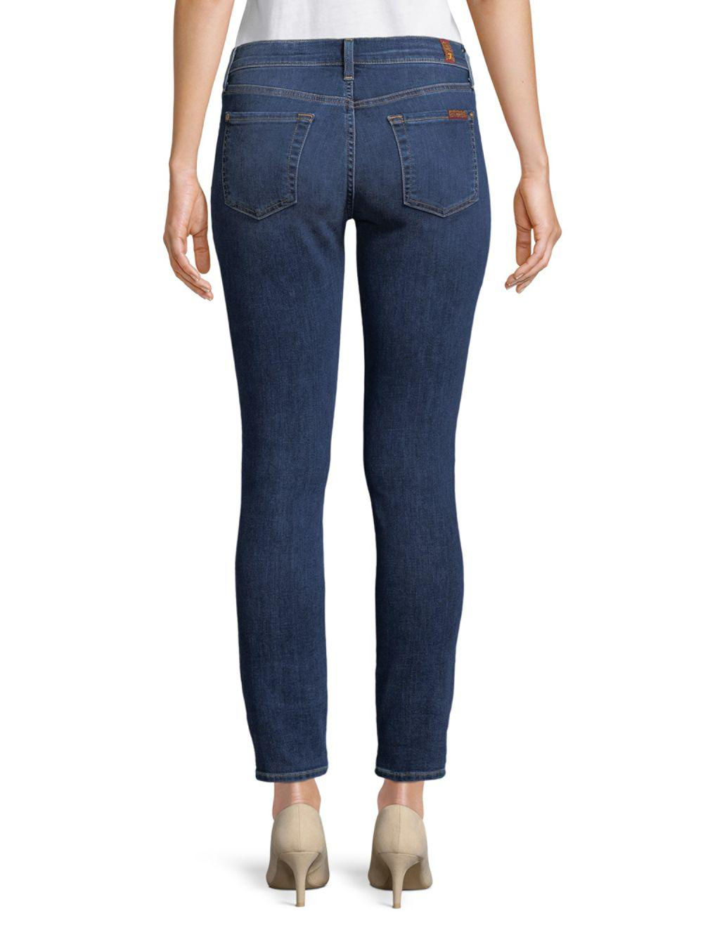 7 For All Mankind Denim The Ankle Skinny Jeans in Blue