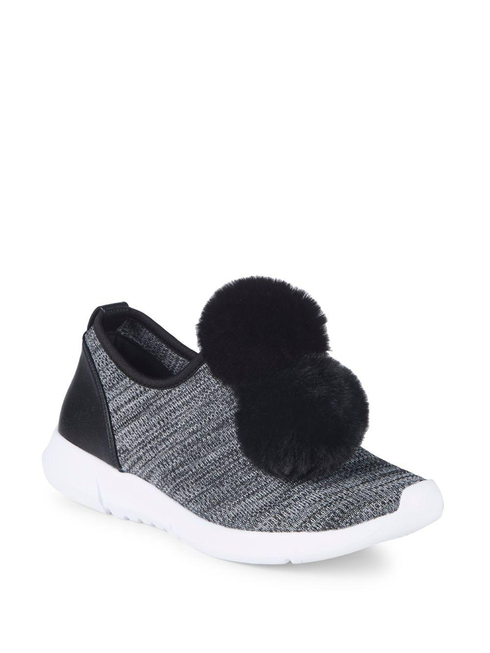 953325b38 Circus by Sam Edelman Lisette Faux Fur Pom-pom Sneakers in Black - Lyst