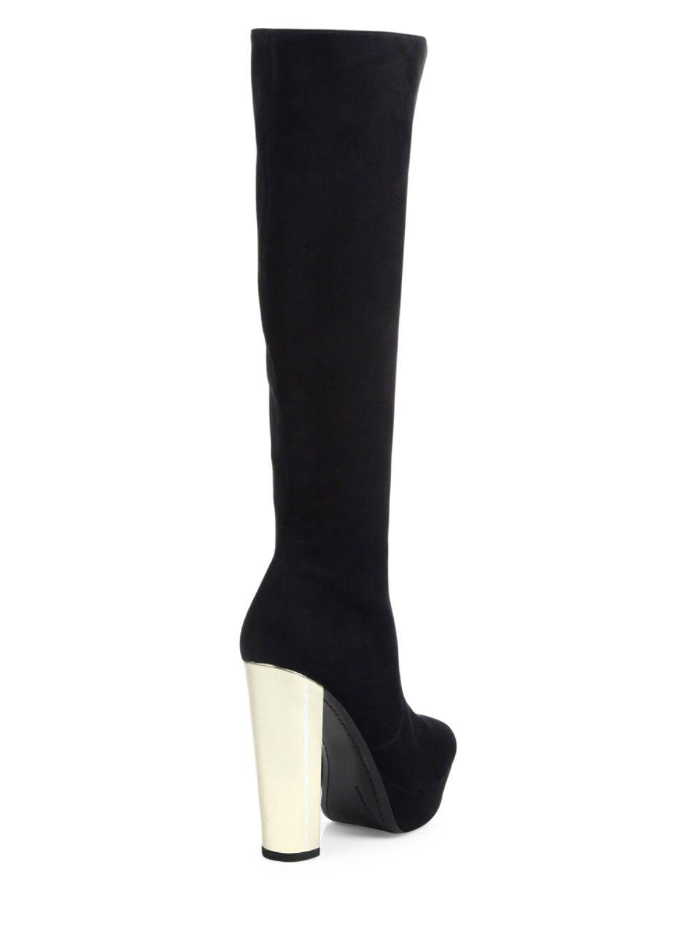 dc99848f651 Lyst - Alice + Olivia Hayes Tall Suede Platform Boots in Black - Save 30%