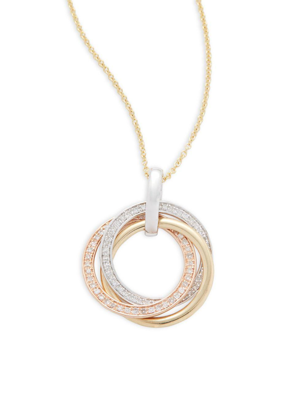 Lyst effy diamond and 14k whiteyellowrose gold loop pendant gallery mozeypictures Images