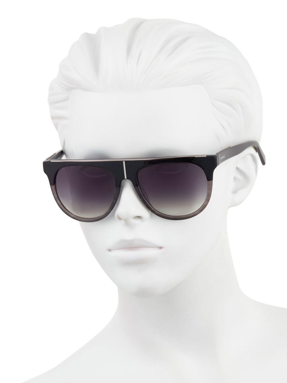 Balmain 55mm Two-tone Flat-top Sunglasses in Black