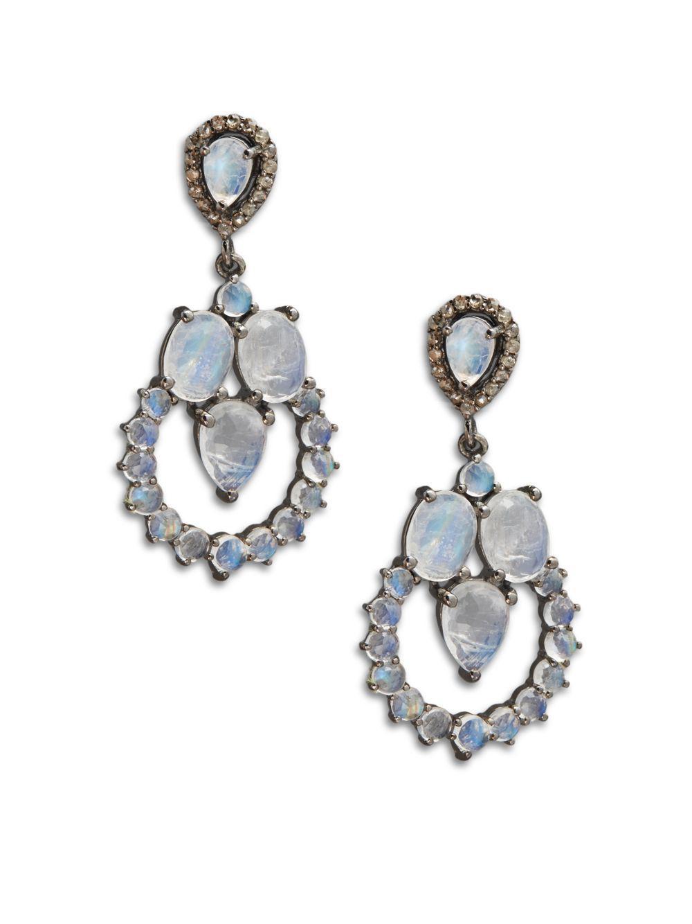 Bavna Black Diamond & Moonstone Hoop Drop Earrings f0xEQQp16