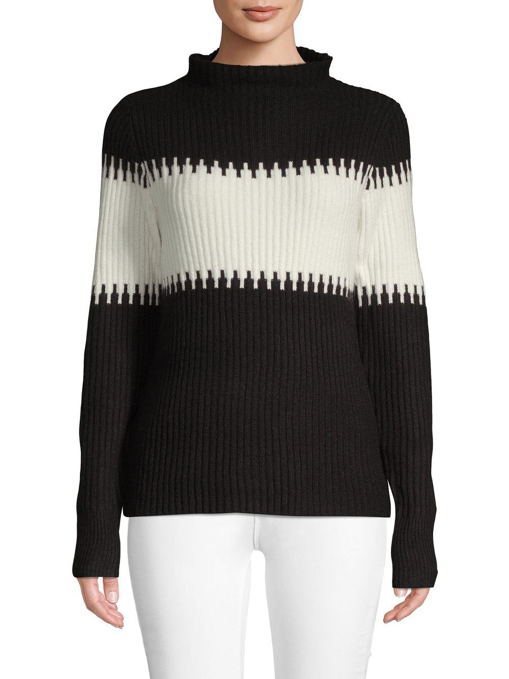 68eccb874998cd Lyst - French Connection Sophia Knits Ribbed Sweater in Black - Save 78%