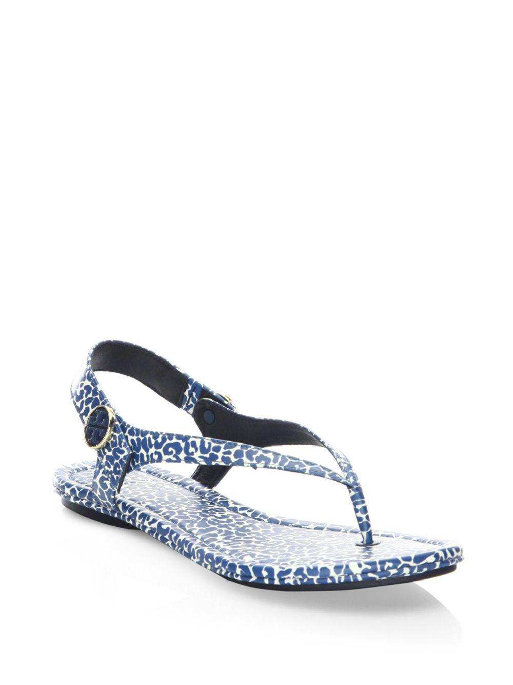 f9ab2b78934b8 Lyst - Tory Burch Minnie Leopard-print Travel Sandals in Blue
