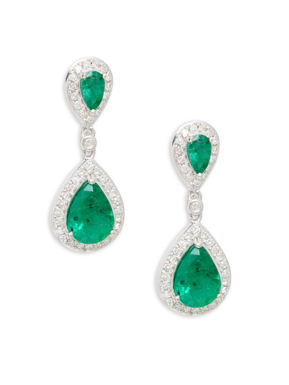 Effy Women S Diamond Emerald 14k White Gold Double Teardrop Earrings