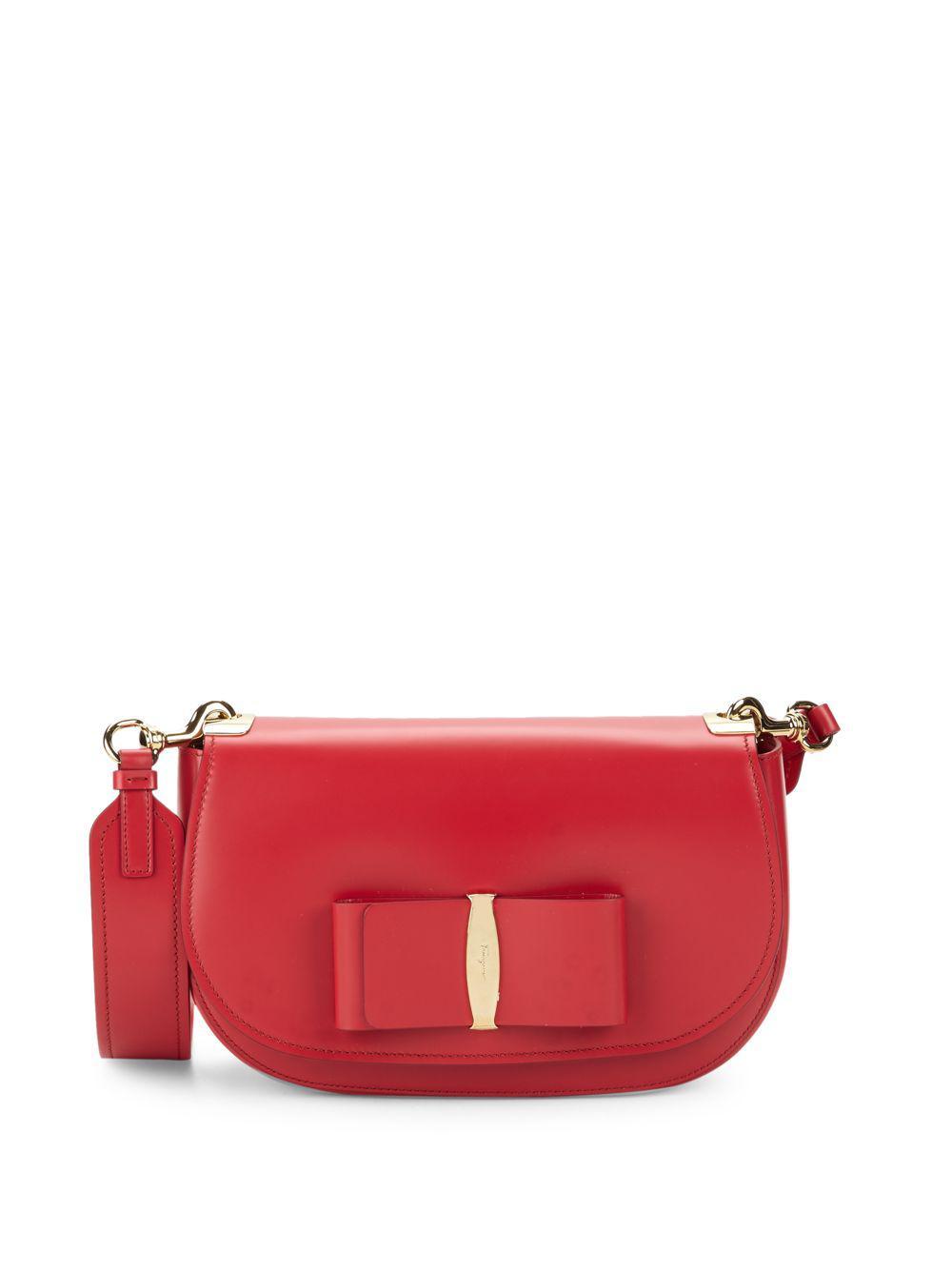 Lyst - Ferragamo Small Vara Leather Crossbody Bag in Red 289ecb71b8e13