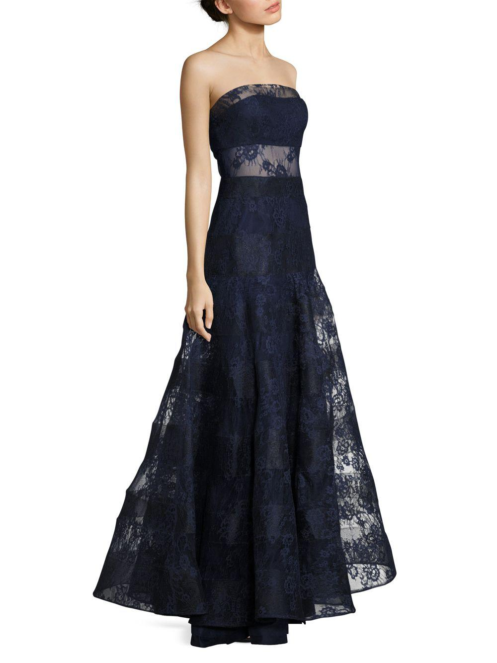 Lyst - Basix Black Label Strapless Lace Gown in Blue - Save ...