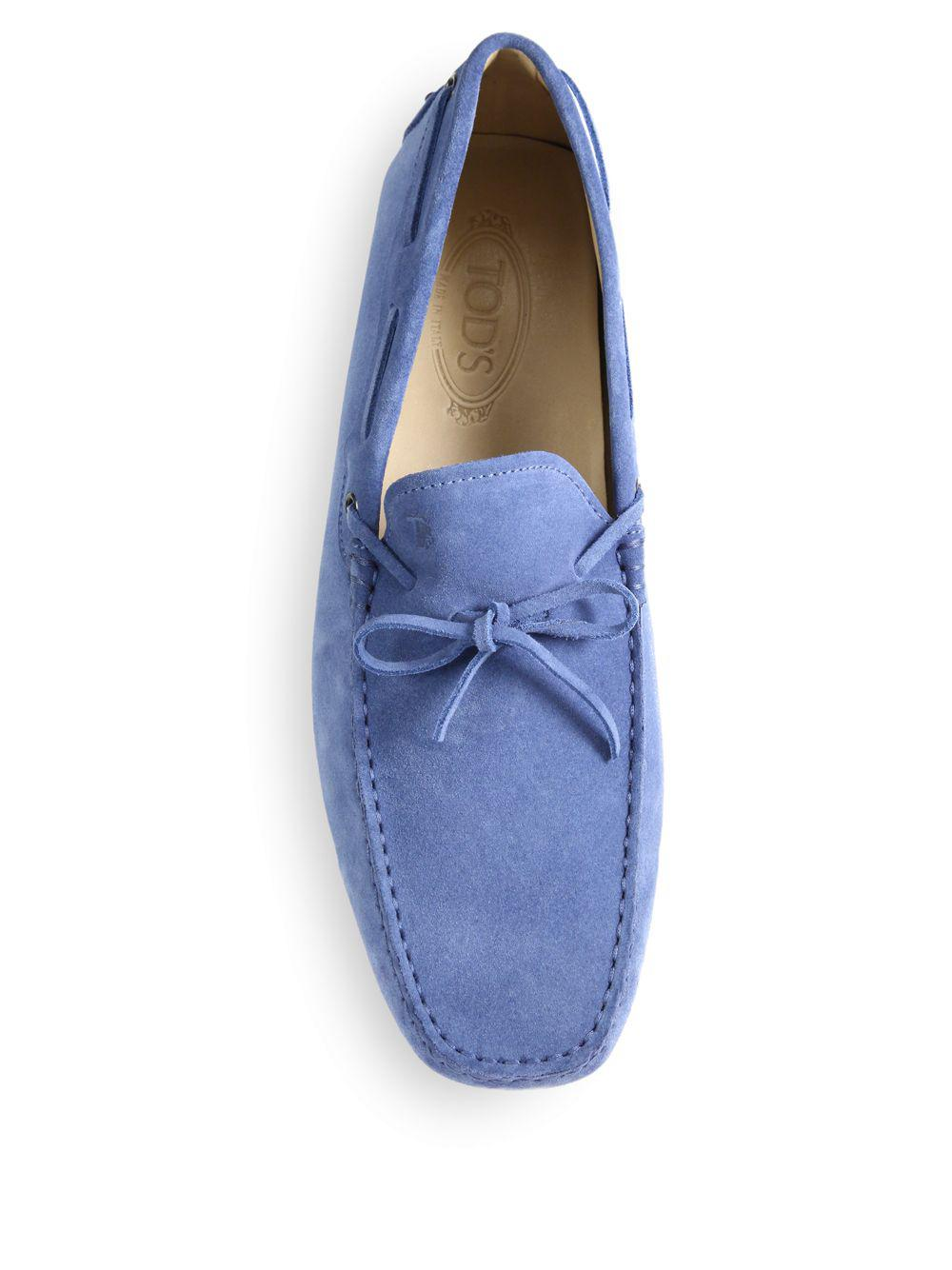 Tod's Suede Tie Drivers in Blue for Men
