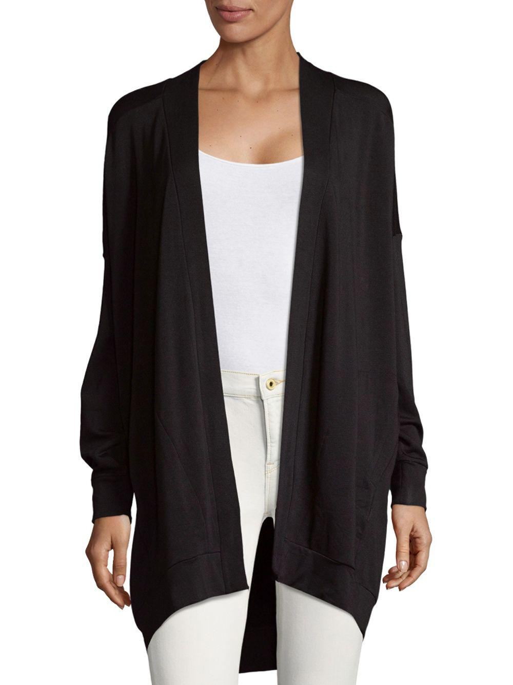 Saks fifth avenue Open Fleece Cardigan in Black | Lyst