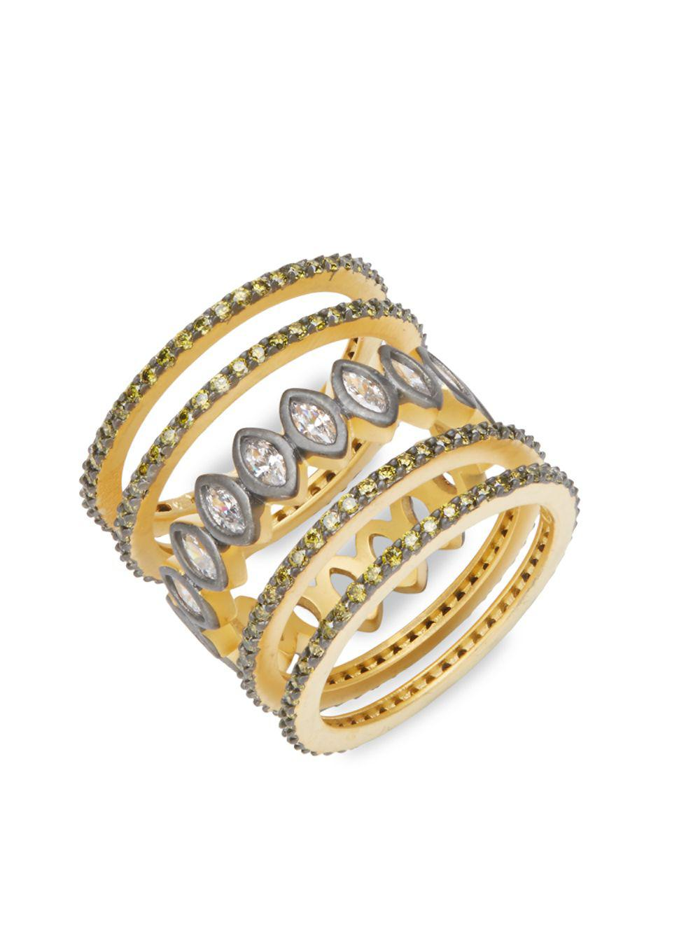Lyst - Freida rothman Contemporary Deco Cubic Zirconia And Sterling ...