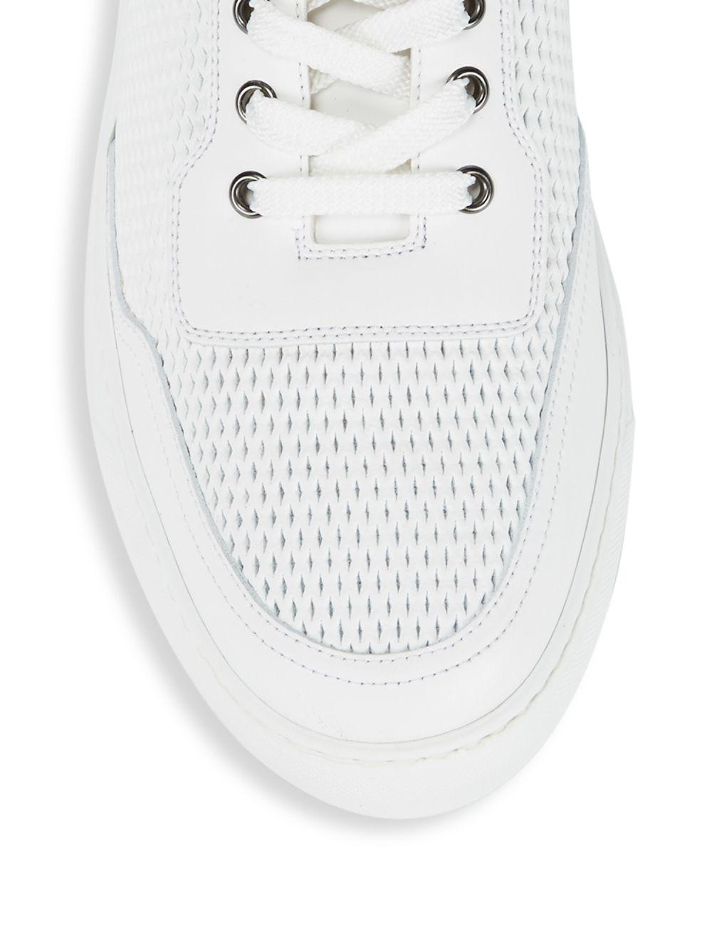 Harry's Of London Perforated Lo-top Leather Sneakers in White