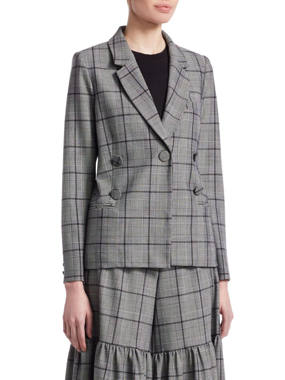 Sea Wool Bacall Plaid Blazer in Grey