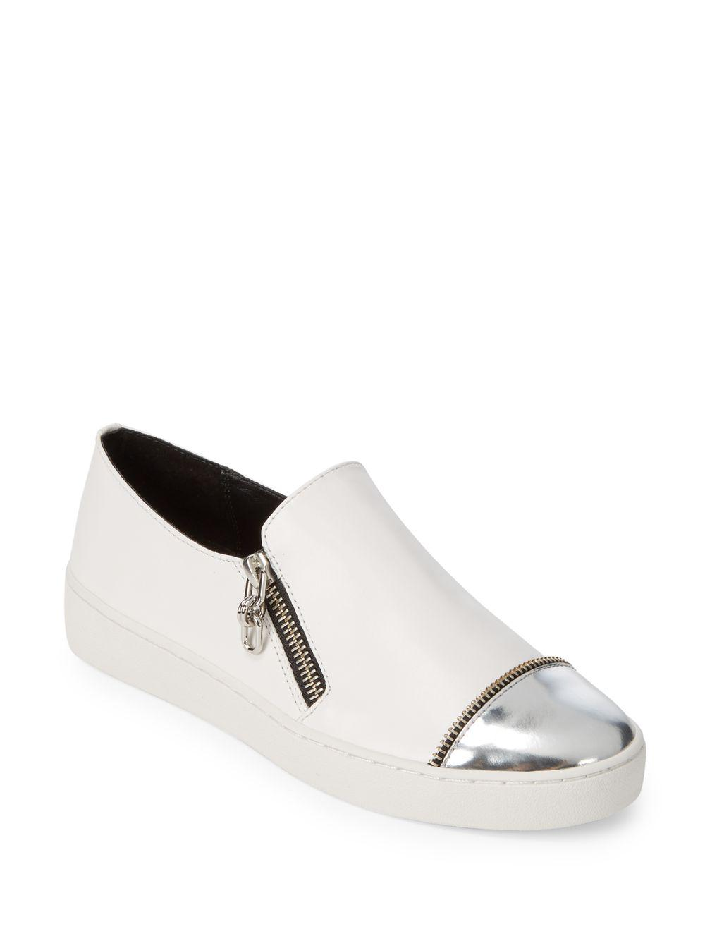 5cf6880917e Michael Kors Grayson Slip-on Leather Sneakers in White - Lyst