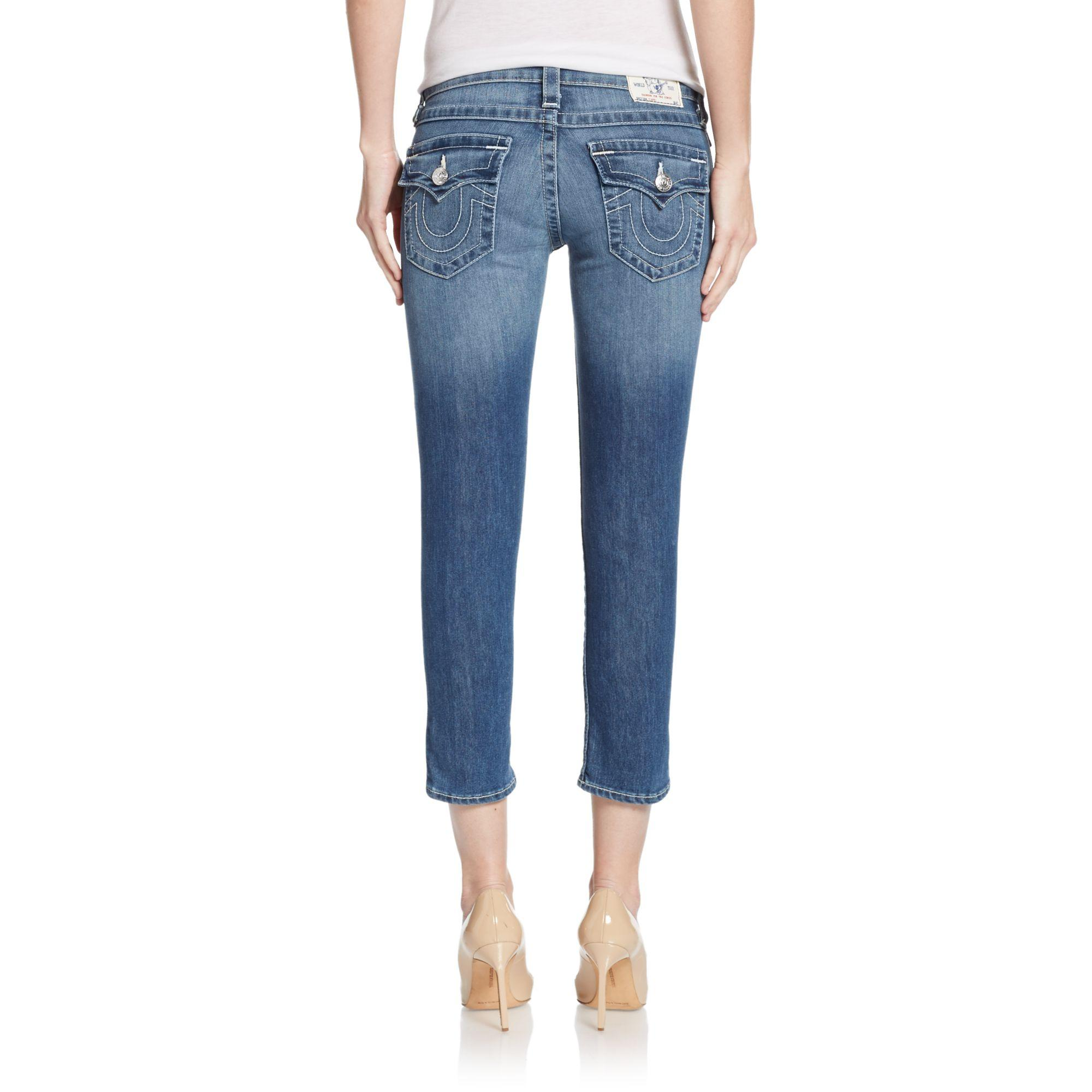 True Religion Rolled Capri Jeans in Blue