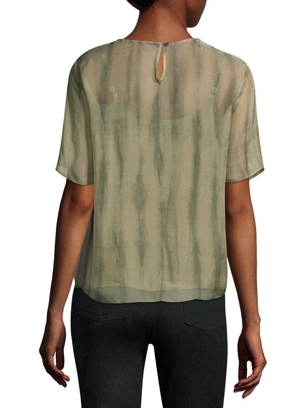 a355d6b9c1 Eileen Fisher - Green Shibori Short-sleeve Silk Box Top - Lyst. View  fullscreen