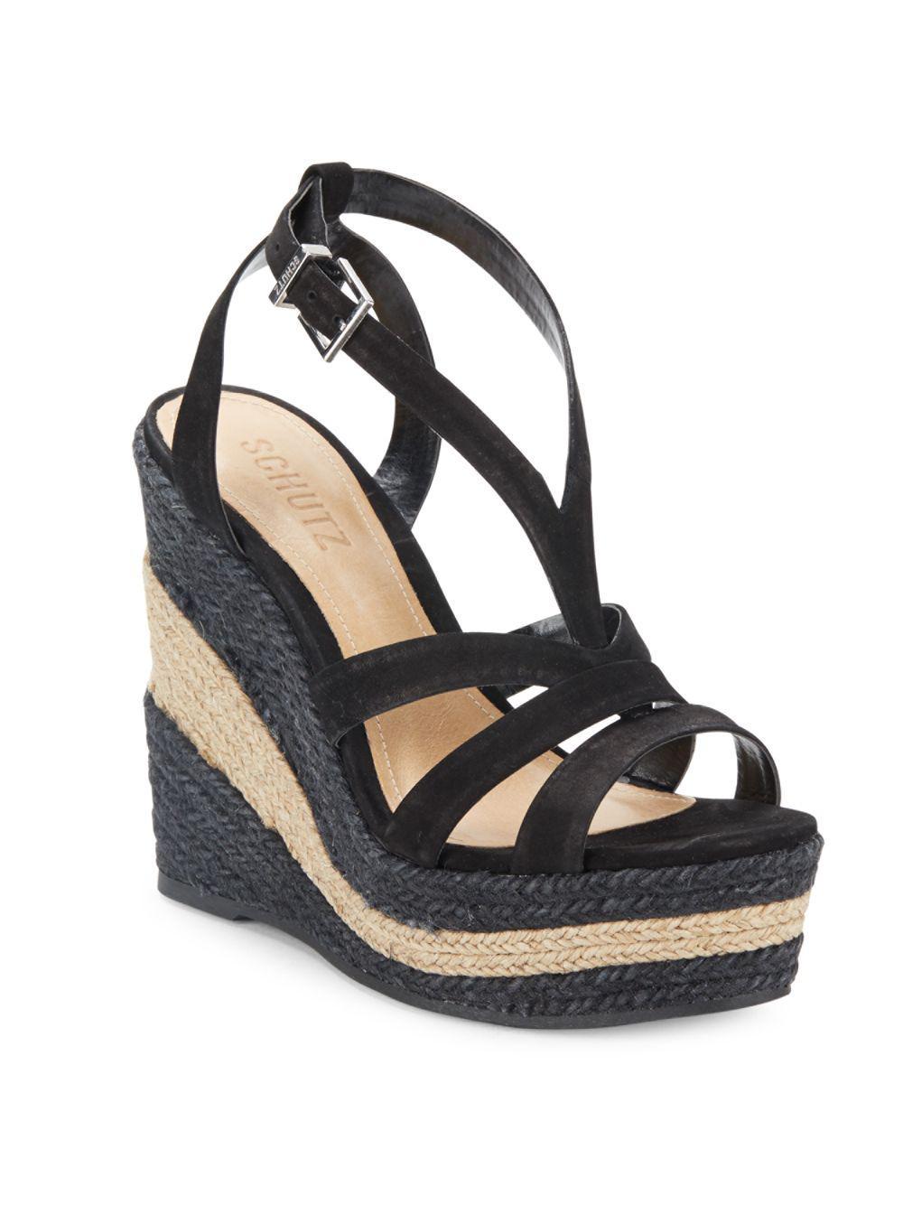 0ffa1dfecc3 Lyst - Schutz Daenerys Strappy Wedge Platform Sandals in Black