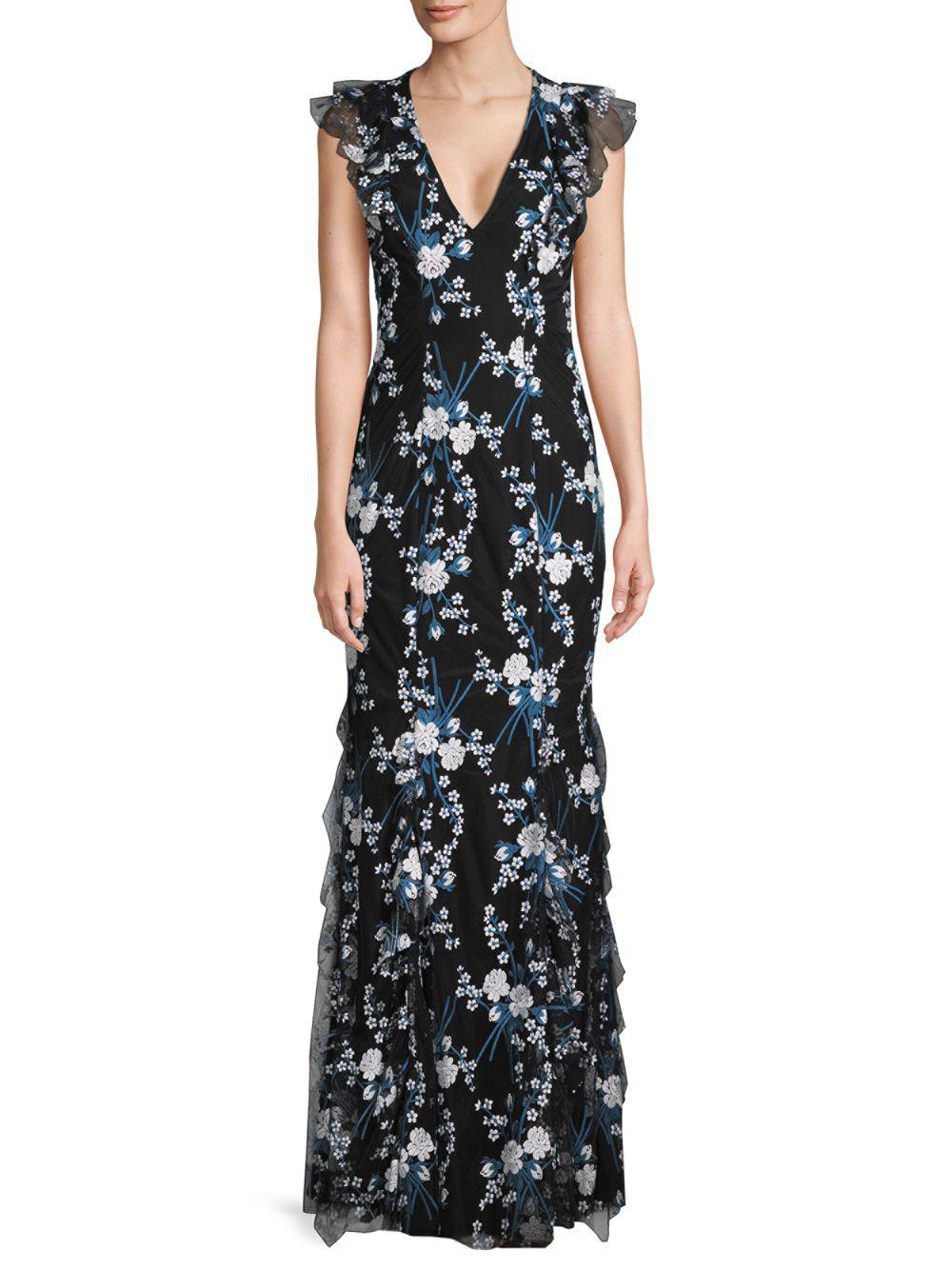 2e291ca618c Lyst - Zac Zac Posen Josephine Floral Gown in Black