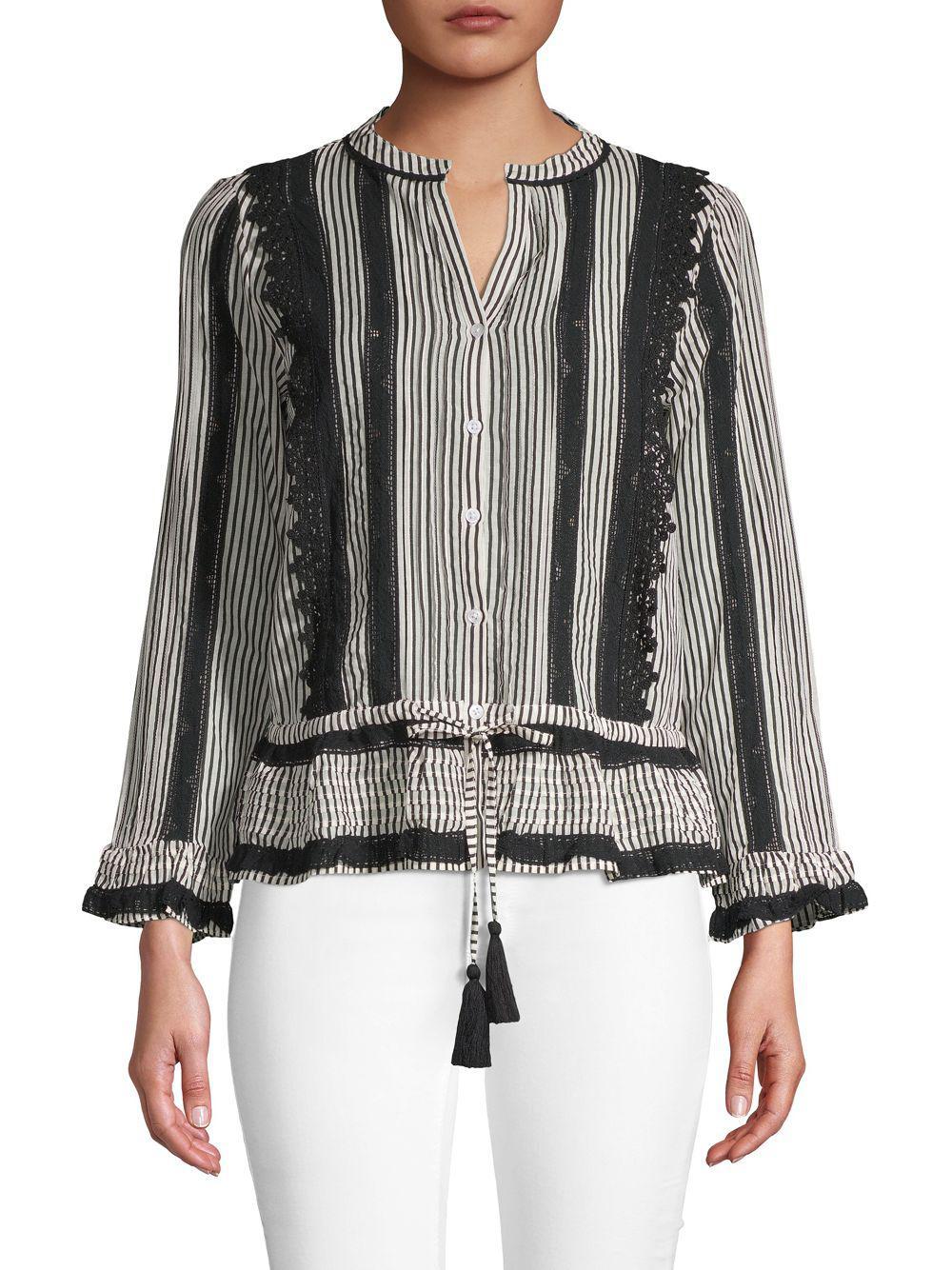 e37e2da5b08 Love Sam Hailey Striped Long-sleeve Top in Black - Lyst