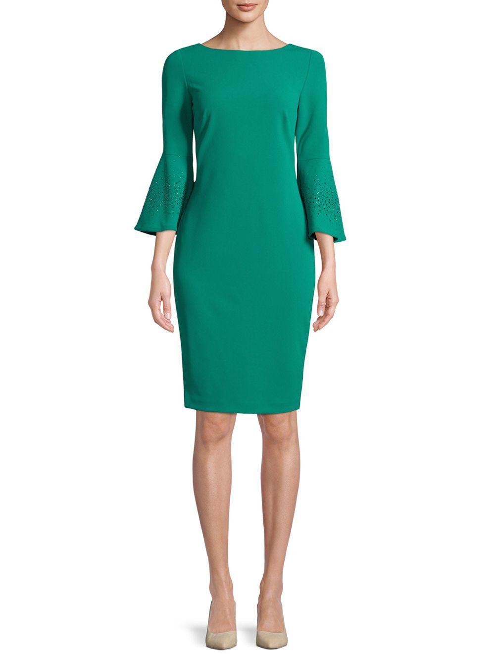 Lyst - Calvin Klein 205W39Nyc Bell Sleeve Sheath Dress in Green