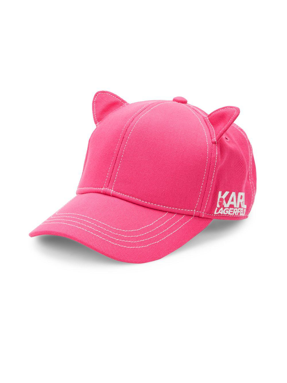 593001c0da4 Lyst - Karl Lagerfeld Cat Ear Baseball Cap in Pink - Save 50%
