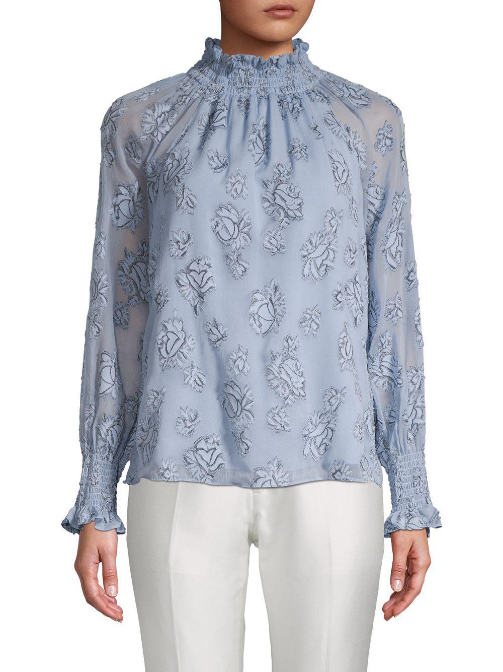 1d9b10c3d5228a Lyst - Rebecca Taylor Mockneck Long Sleeve Floral Top in Blue - Save 58%