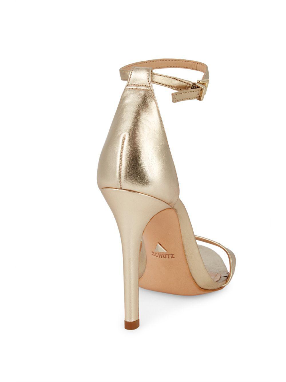 fa51596b334 Schutz - Metallic Leather Ankle-strap Sandals - Lyst. View fullscreen