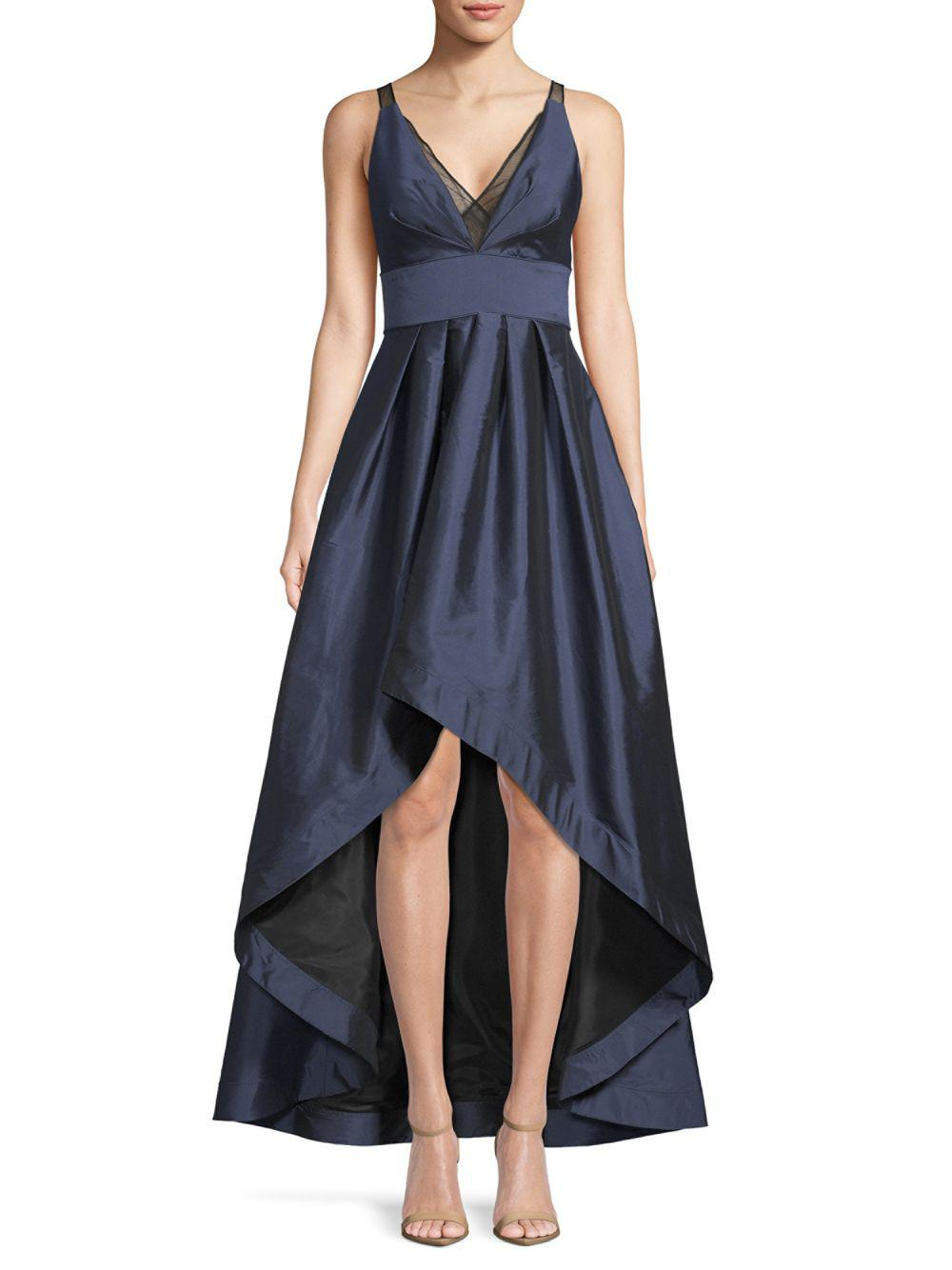Lyst - Aidan Mattox Deep V-neck Hi-lo Ball Gown in Blue - Save ...
